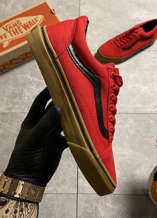 Vans old skool red brown
