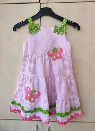 Платье-сарафан розовая клетка