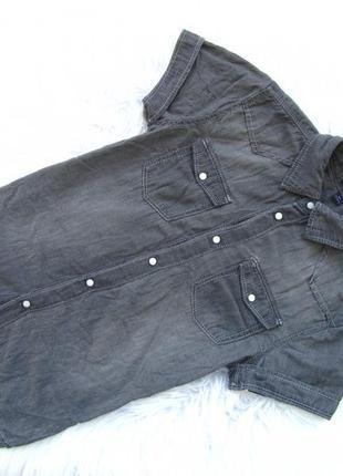 Стильная джинсовая  рубашка с коротким рукавом kiabi
