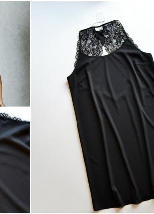 Легкое черное платье в бельевом стиле с кружевной спинкой