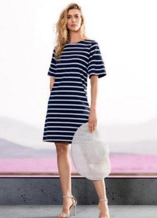 Качественное летнее платье в морском стиле в полоску германия