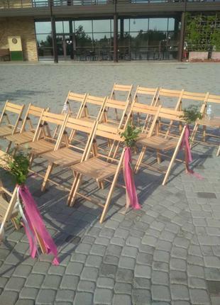 Аренда складных стульев цвета дерева, деревянных стульев Днепр