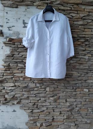 Белоснежная льняная рубашка туника большого размера