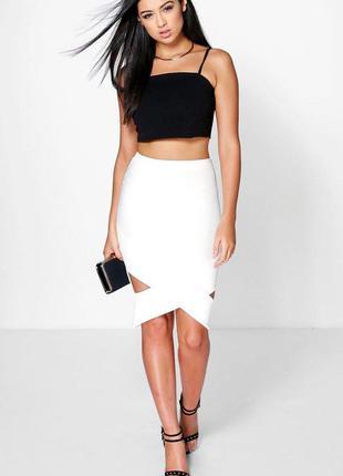 Белая юбка рубчик, переплетение