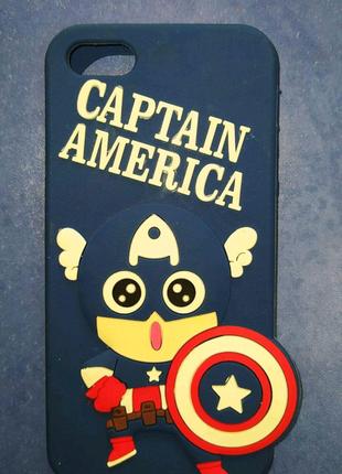 Силиконовый чехол Капитан Америка Накладка бампер на Iphone 5/5s