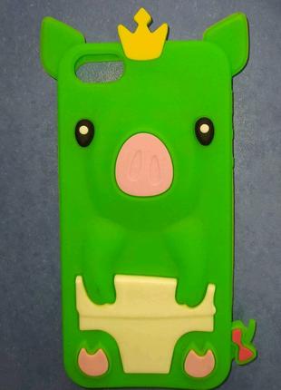 Силиконовый чехол яркий Свинья Накладка бампер на Iphone 5/5s