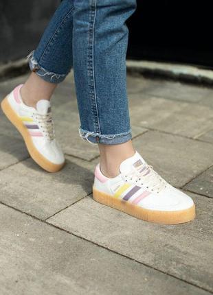 Кроссовки adidas samba rose  кеды адидас белые разноцветные