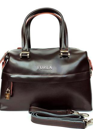 """Женская кожаная сумка-саквояж """"capriccio"""" коричневая"""