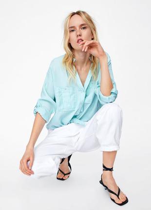 Новая женская рубашка zara m l xl zara сорочка жіноча 46 48 50