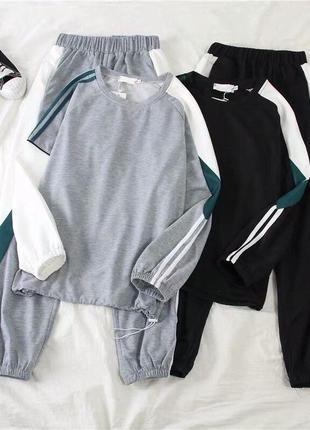 Женский спортивный костюм серый/чёрный