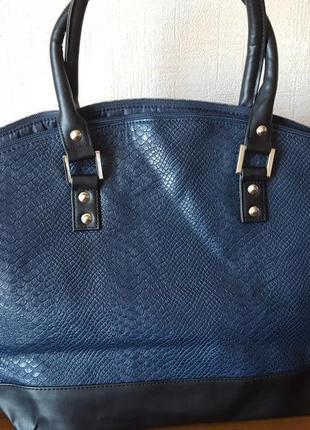 Большая синяя сумка шопер