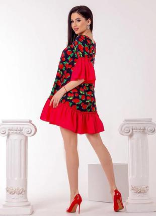 Платье из натуральной ткани штапель  с воланом