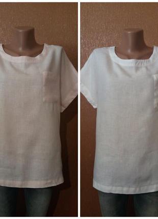 Блузка 100% лён белая и пудровая размер 18-20 marks & spencer