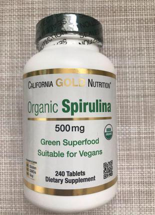 Органическая спирулина 500 мл от California Gold Nutrition наличи