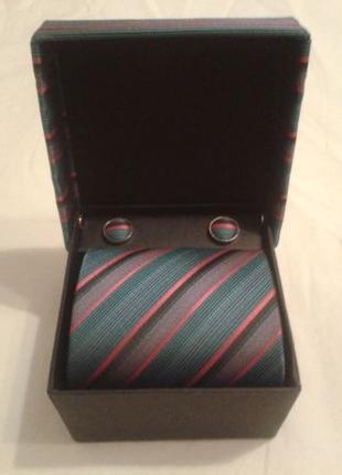 Подарочный комплект галстук и запонки бренд Fashion Collection