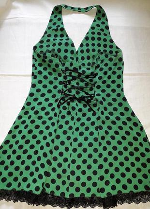 Летний сарафан в горошек с открытой спиной, летнее платье
