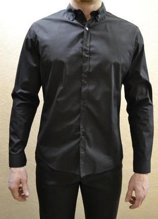 Рубашка мужская черная oodji slim.