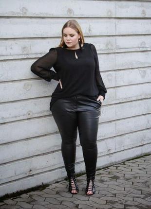 Черные кожаные брюки штаны стрейч кожзам батал высокая талия п...