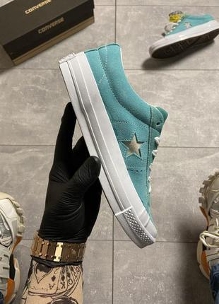 Кеды женские converse one star premium suede turquoise (арт: 1...