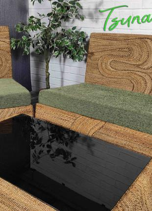 Набор плетеной мебели из абаки (диван+2кресла+стол)