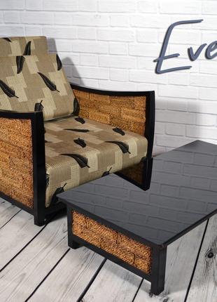 Комплект плетеной мебели из абаки (диван+2 кресла+стол)