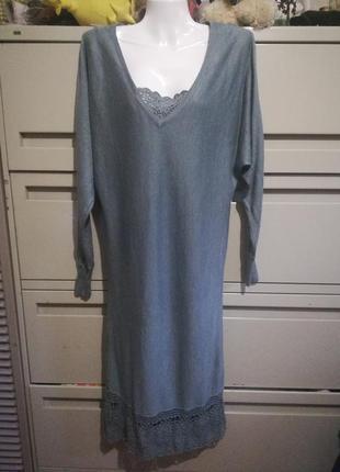 208 трикотажное платье серо-зеленого цвета