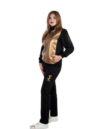 Женский трикотажный костюм больших размеров (Стежка - кожа)