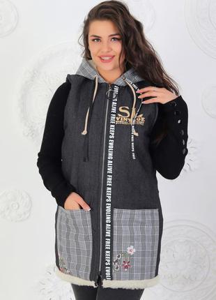 Женская теплая джинсовая жилетка на эко-меху  48 - 56 (555)