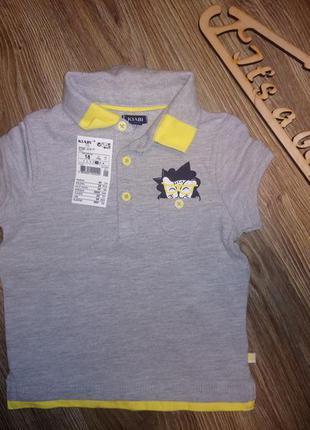 Детское поло, футболка серая для мальчика kiabi