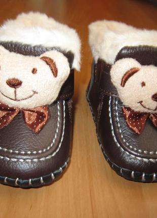 Коричнево-бежевые кожаные утепленные ботиночки с мордочками ме...