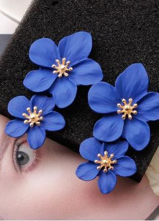 Длинные серьги цветы синего цвета