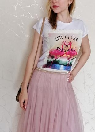Летняя футболка с фламинго