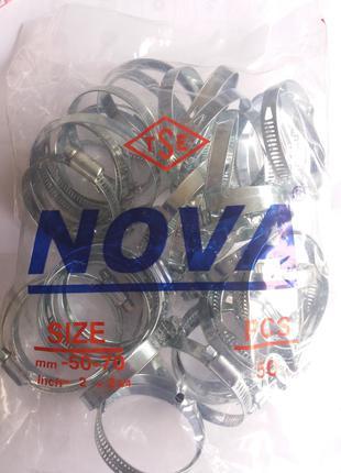 Хомут червячный Nova (Хомут металевий черв'ячний) 50-70 мм