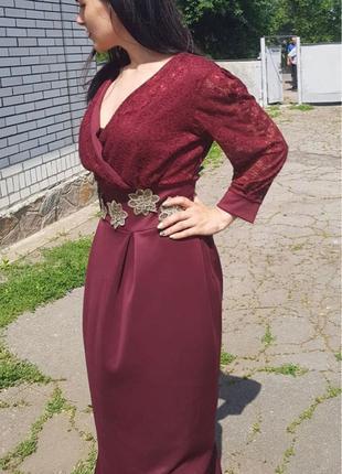 Шикарное платье в пол, цвета марсала.