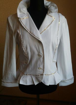 Пиджак диско, белый с золотым для аниматора. Карнавальные костюмы