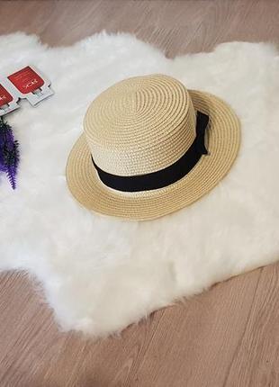 Солнцезащитная соломенная летняя шляпа канотье с бантиком