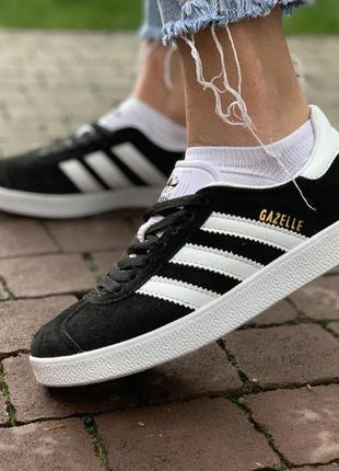 Кроссовки adidas gazelle black white кеды адидас газель черные...