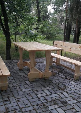 Садовая мебель. Стол и лавки. Лавочки.Мебель из дерева.