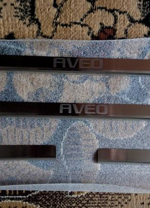 Накладки на пороги Chevrolet Aveo I/II 5D 2002-