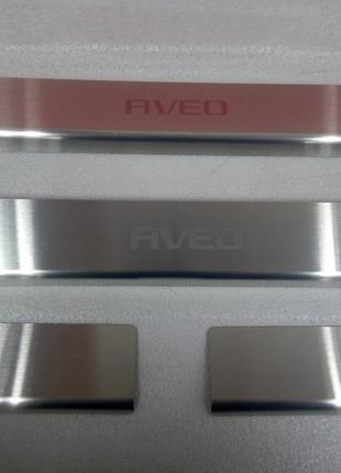 Накладки на пороги Chevrolet Aveo III 4D / 5D 2011