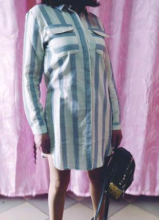Женское Платье-рубашка трапеция с карманами