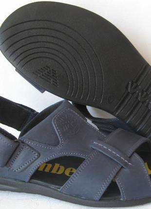 Мужские босоножки в стиле Timberland синие кожаные сандали сандал