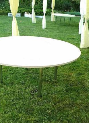 Аренда круглых столов на хром ножках в Днепре
