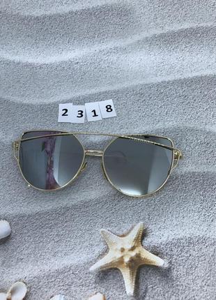 Солнцезащитные очки, цвет серый в золотистой оправе  к. 2318