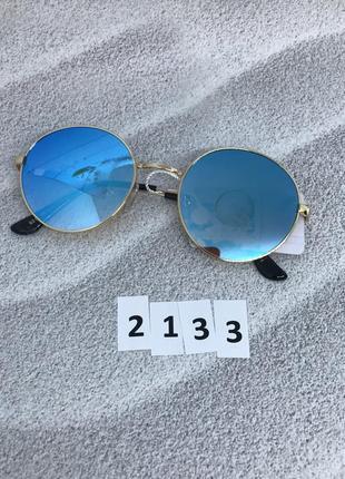 Солнцезащитные очки с голубыми линзами в золотой оправе  к. 2133