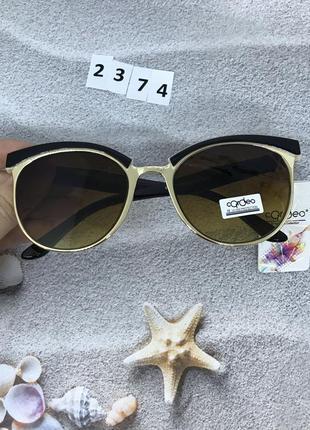 Модные очки с коричневыми линзами ,оправа кофе с молоком  к. 2374