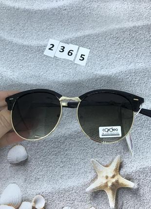 Модные черные круглые очки с золотой оправой к. 2365