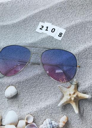 Солнцезащитные очки авиаторы с розово-голубыми линзами  к.2108