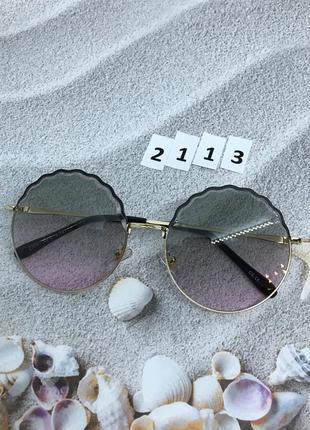 Женские круглые солнцезащитные очки розовые  к. 2113