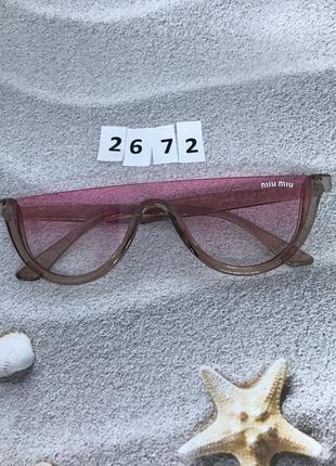 Модные розовые очки в коричневой оправе к. 2672